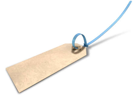 zip tie: A regular beige colour paper tag with a blue zip tie attached through its eyelet on an isolated background