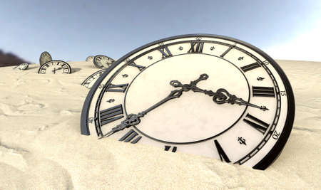 scattered: An array of half buried antique clocks scattered across a sandy desert landscape under a blue sky