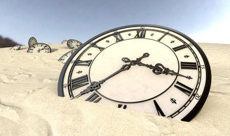 orologi antichi: Una serie di mezze orologi antichi sepolti sparsi in un paesaggio deserto di sabbia sotto un cielo blu