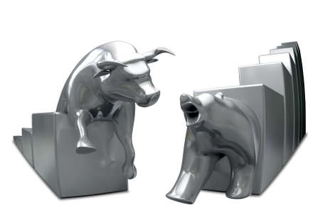 bull: Bull and bear economic trends statuettes approaching each other on an isolated background Stock Photo