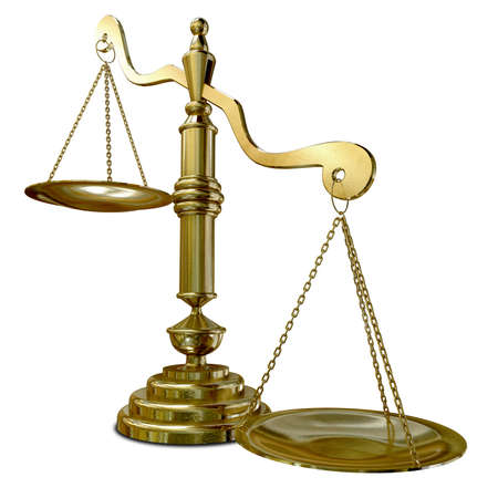 unequal: An empty gold justice scale with one side outweighing the the other on an isolated background