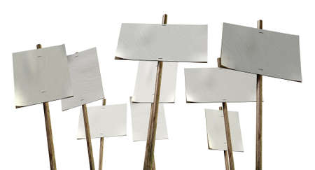picket: A set of nine blank, white picket placards attached to wooden stakes on an isolated background