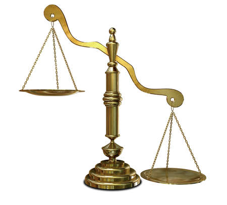 An empty gold justice scale with one side outweighing the the other on an isolated background photo