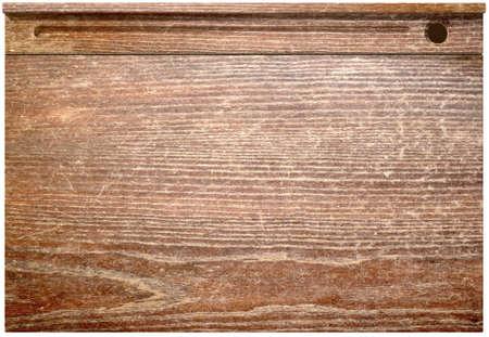 trompo de madera: Una vista superior directa de un escritorio de la escuela de �poca con una tapa con bisagras y un tintero agujero en un fondo aislado Foto de archivo