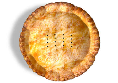 A top view of a regular golden baked pastry pie with crimped edges on an isolated background photo