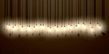 notion: A front view row of displayed illuminated hanging lightbulbs casting various shadows on a brown wall background Stock Photo