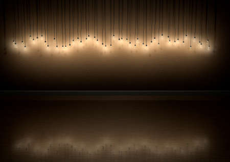 seasonal light display: A front view row of displayed illuminated hanging lightbulbs and various heights casting shadows on a brown wall background and reflecting off a wooden floor