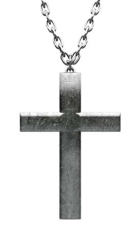 iron cross: A closeup of a plain metal crucifix attached to a metal chain on an isolated background Stock Photo