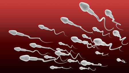 A microscopic perspective view closeup of a group white sperm swimming in the same direction on a red and maroon background photo
