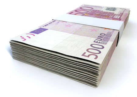 wads: A stack of bundled five hundred euro notes on an isolated background