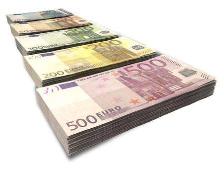 greenbacks: An assortment of euro note currency in stacks on an isolated background