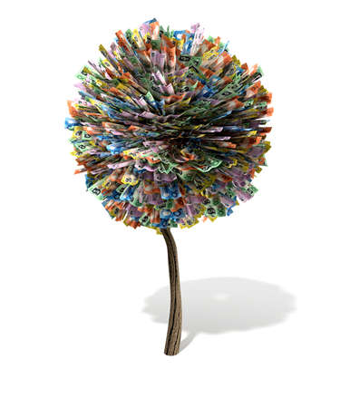 australian money: A stylised topiarized tree with a wooden trunk a leaves made up of australian dollar bank notes on an isolated background