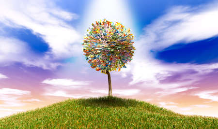 money sphere: A highlighted stylised tree with leaves of australian dollar bank notes on a grassy hill with a blue sky backdrop