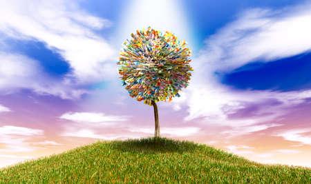 Un arbre stylisé mis en évidence avec des feuilles de billets de banque australiens en dollars sur une colline herbeuse avec un ciel fond bleu