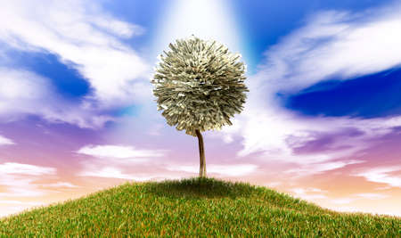 foliar: A highlighted stylised tree with leaves of american dollar bank notes on a grassy hill with a blue sky backdrop Stock Photo