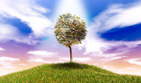 mounds: A highlighted stylised tree with leaves of euro bank notes on a grassy hill with a blue sky backdrop