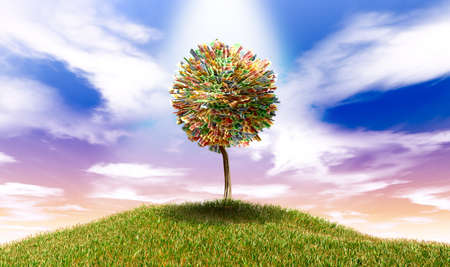 money sphere: A highlighted stylised tree with leaves of south african rand bank notes on a grassy hill with a blue sky backdrop Stock Photo