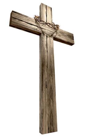 cruz religiosa: Una cruz de madera que tiene una corona tejida de espinas en cristiano que representa la crucifixión en un fondo aislado