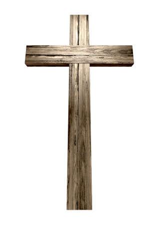 cruz religiosa: Una cruz de madera en un fondo aislado Foto de archivo