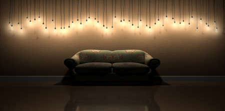 unpretentious: A front view row of modern display of  illuminated hanging lightbulbs at various heights casting shadows on a brown wall background and reflecting off a wooden floor contrasting with an an old vintage floral couch Stock Photo