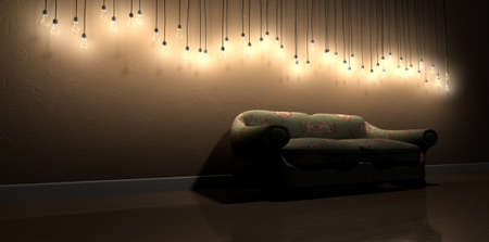 suppressed: A perspective view row of modern display of  illuminated hanging lightbulbs at various heights casting shadows on a brown wall background and reflecting off a wooden floor contrasting with an an old vintage floral couch