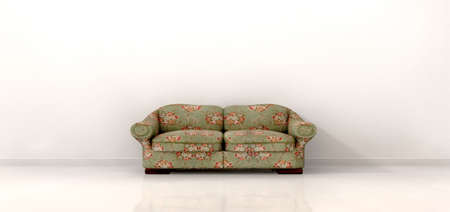 stark: An front view of an old vintage couch in the centre of a stark white modern room with skirting and a reflective floor