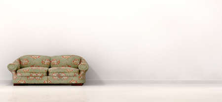 unpretentious: An front view of an old vintage couch in the left hand side of a stark white modern room with skirting and a reflective floor