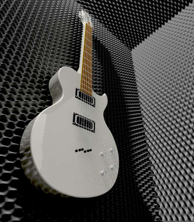sound proof: An acoustic foam cladded sound room with a white electric guitar mounted on one of the walls