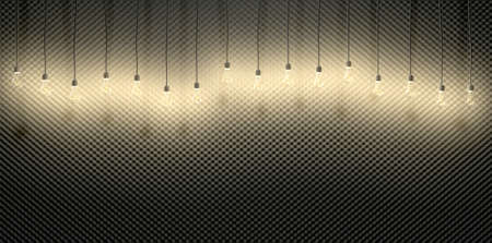 sound proof: A front view of grey sound proofing acoustic foam with an array of illuminated hanging light bulbs running across it Stock Photo