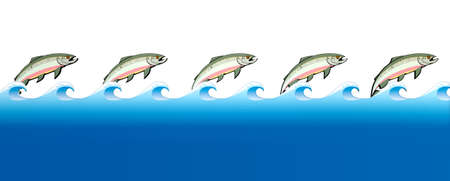 salmon leaping: A stylization of the great salmon migrations with cutouts of pink salmon in a row with a row of blue water on an isolated background