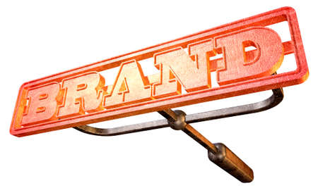 Een metalen vee merk met het woord merk als de markering gebied gloeiend hete rode op een geïsoleerde achtergrond