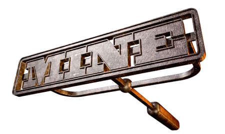 A metal cattle brand with the word mine as the marking area on an isolated background photo
