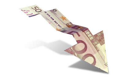 greenbacks: An arrow graph trend shaped 500 euro bank note showing an economic downward trend on an isolated background