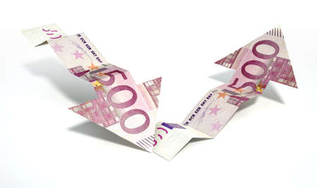 rallying: Two arrow graph trend shaped 500 euro bank notes showing an economic downward trend recovering to an upward trend on an isolated background
