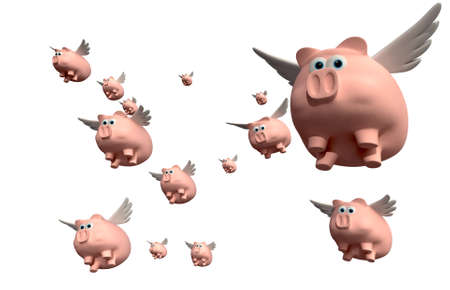 flocking: A literal description of a group of pink pig with wings flying on an isolated white background Stock Photo