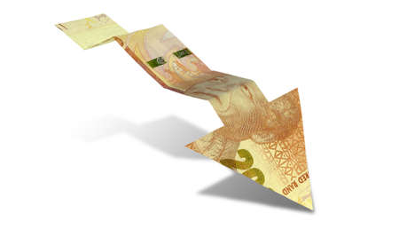 greenbacks: An arrow graph trend shaped 200 rand bank note showing an economic downward trend on an isolated background