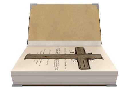 bible ouverte: Une bible reli� ouvert avec une zone d�coup�e dans les pages dissimulant un crucifix en bois sur un fond isol�