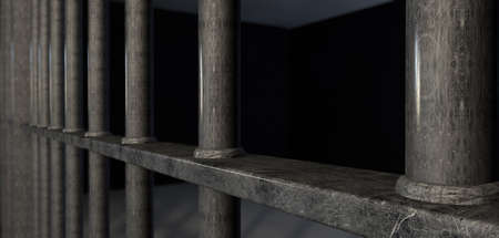 incarcerate: A extreme closeup view of a prison holding cell bars with welds