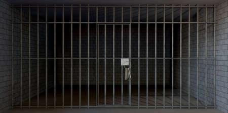 detained: A la vista de una celda de la prisi�n con una sala de ladrillo y hormig�n cerrado con barras de metal y una puerta cerrada con un manojo de llaves en �l