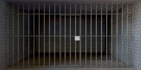 jailhouse: A full view of a prison holding cell consisting of a brick and concrete room enclosed with metal bars and a closed door  Stock Photo