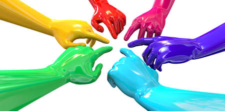 reverence: A perspective view of a circular group of glossy multicolored hands pointing inwards towards each other on an isolated white background
