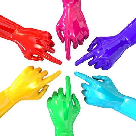 inwards: A top view of a circular group of glossy multicolored hands pointing inwards towards each other on an isolated white background