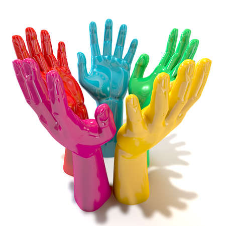 reverence: A perspective view of a circular group of glossy multicolored hands reaching skyward on an isolated white background Stock Photo