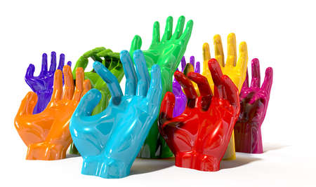 pleading: A group of glossy multicolored hands reaching skyward at various heights on an isolated white background