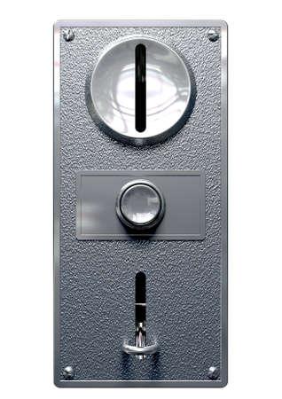 Un primer plano de un panel de ranura de monedas de metal de una máquina que funciona con monedas con las ranuras y el botón de entrada y salida en un fondo aislado