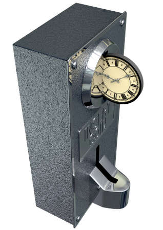 A closeup of a metal coin slot mechanism with a coin shaped clock face being inserted in the slot showing time is money on an isolated background photo