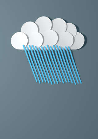 raincloud: A  handmade paper raincloud raining out blue lines of rain isolated on a grey paper background