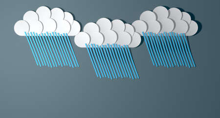 immature: A set of three handmade paper rainclouds each raining out blue lines of rain isolated on a grey paper background