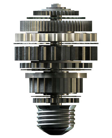 cogwheels: A concept mechanism made up of metal cogwheels making up the shape of a regular light bulb symbolising imagination on isolated background Stock Photo