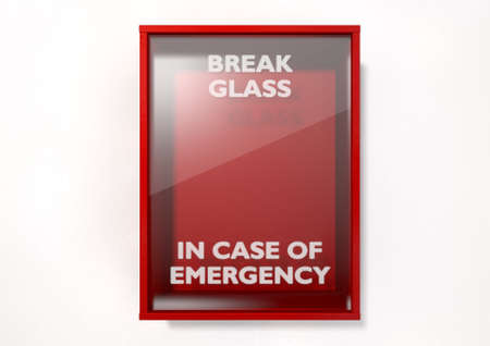 An empty red emergency box with an in case of emergency breakable glass on the front on an isolated background photo